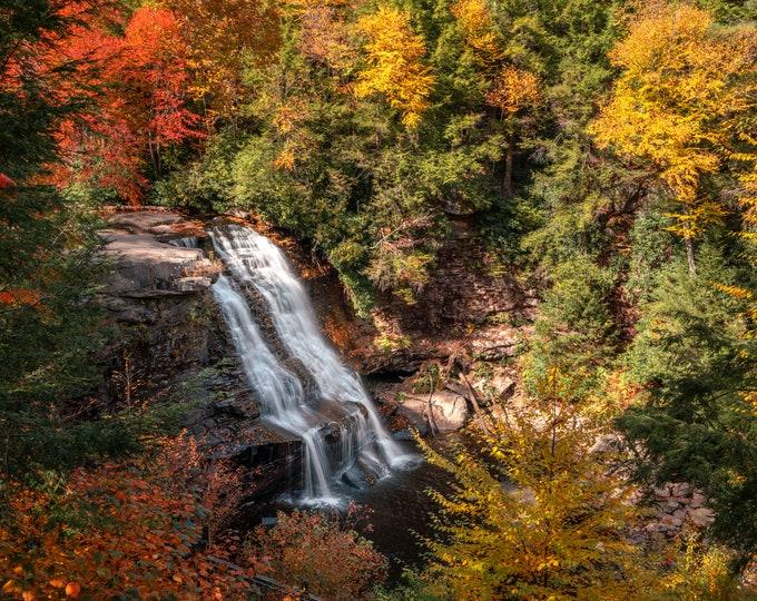 Swallow Falls Waterfall Photograph - Swallow Falls State Park Fall Foliage
