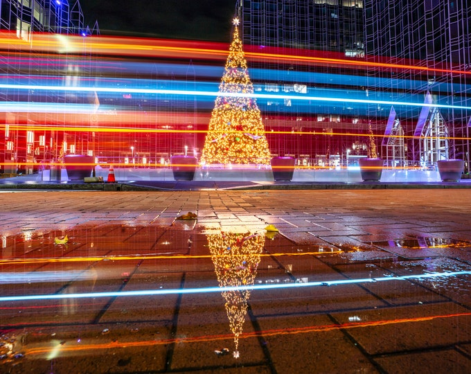 Pittsburgh Print - Light Trails with the PPG Christmas Tree - Pittsburgh Art - Pittsburgh Photo