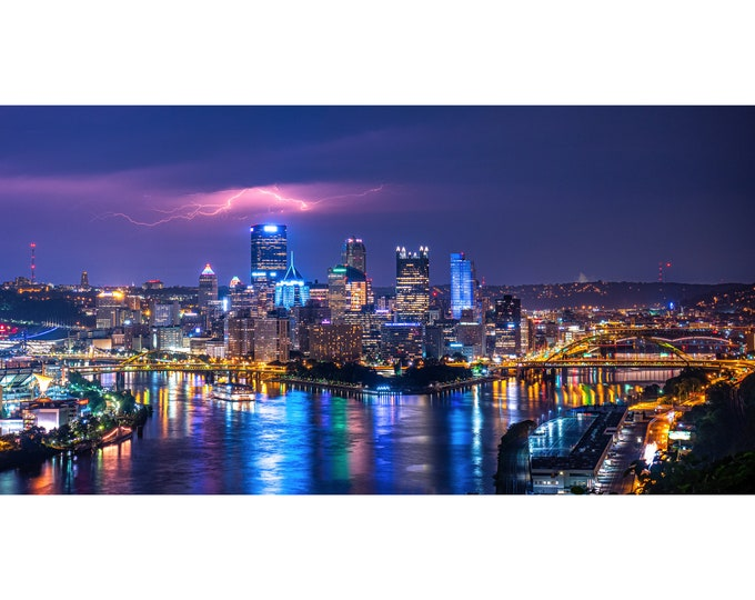 Lightning Over Pittsburgh Photo, Pittsburgh Picture, Pittsburgh Storm Photo | Available on Metal, Canvas, Kodak Photo Paper