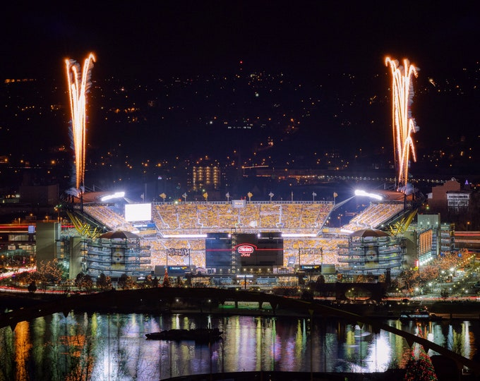 Heinz Field Photo, Picture of Heinz Field with Fireworks, Steelers Heinz Field Photo, Pittsburgh Photograph, Pittsburgh Steelers