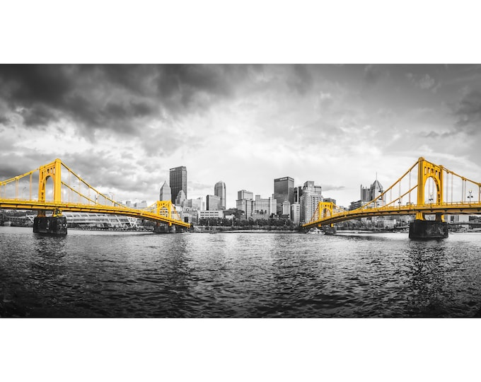Pittsburgh Bridges Selective Color Photo | Pittsburgh Skyline Picture | Available on metal, canvas, and photo paper
