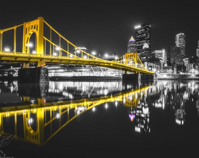Pittsburgh Photo Print - Rachel Carson Bridge in Black & Gold - Pittsburgh Art - Pittsburgh Metal Photos