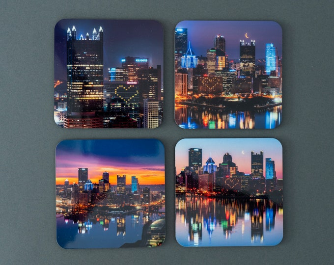 Pittsburgh Drink Coasters - Pittsburgh Hearts