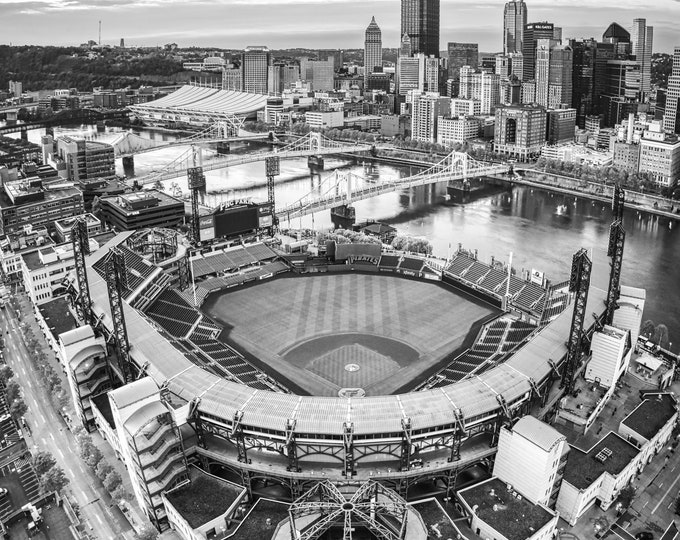 Photo of PNC Park and Pittsburgh Skyline in Black & White, PNC Park Picture, Pittsburgh Pirates