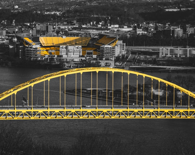 Pittsburgh Photo - Fort Pitt Bridge Black & Gold - Pittsburgh Art - Pittsburgh Prints