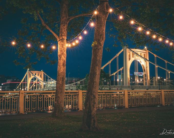 Clemente Bridge Photo - Roberto Clemente Bridge Framed with Festive Lights - Pittsburgh Metal Prints - Pittsburgh Canvas Prints