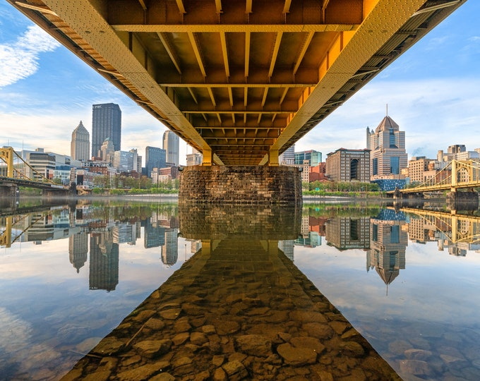 Pittsburgh Skyline Photo Print - Under the Andy Warhol Bridge