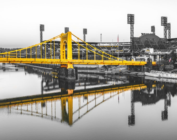 Pittsburgh Photo Print - PNC Park and Clemente Bridge in Black and Gold - Pittsburgh Pirates - Pittsburgh Metal Prints