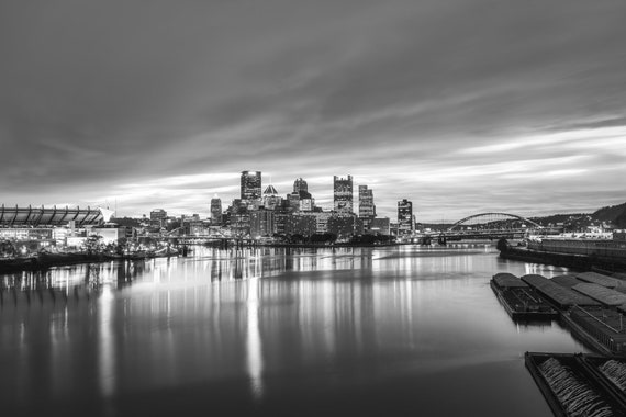 Pittsburgh Skyline with Epic Sunrise Viewed From The West End Bridge