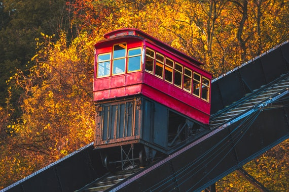 Photo of the Duquesne Incline with Fall Colors in Pittsburgh PA
