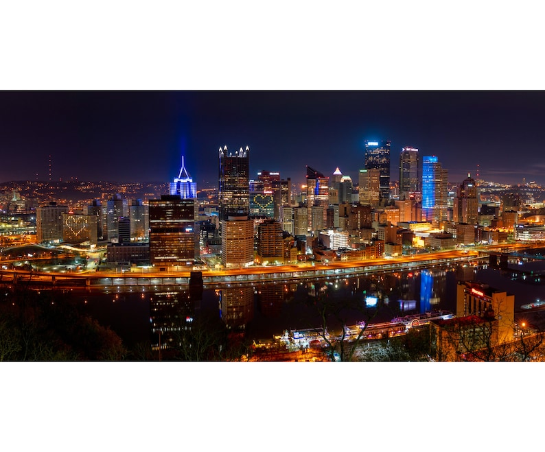 Pittsburgh Skyline Panorama with Hearts  Full Color Version image 0