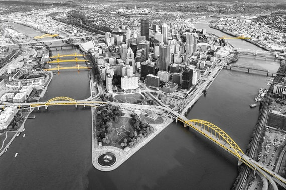 Aerial Photo of Pittsburgh (Selective Color Version)