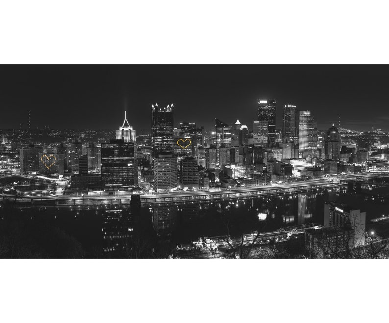 Pittsburgh Skyline Panorama with Hearts  Black and White image 0