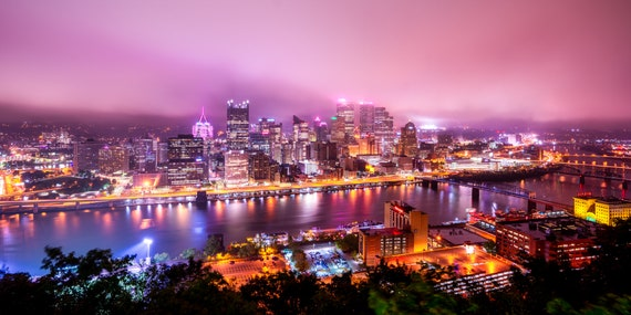 Pittsburgh Bathed in Pink