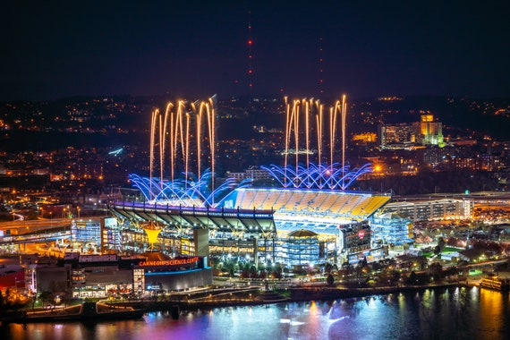 Heinz Field with Fireworks Shooting from the Roof