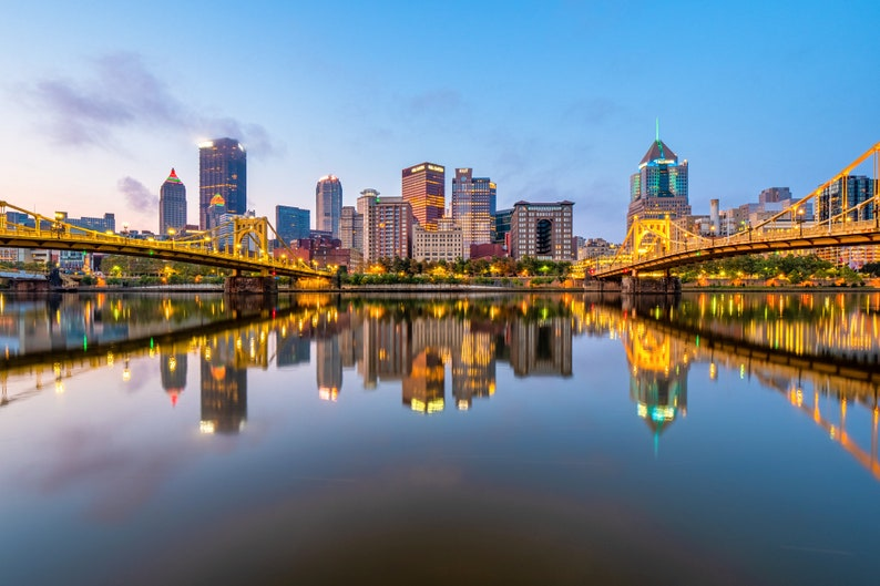 Pittsburgh Reflecting in the Allegheny River Photo | Pittsburgh Picture |  Available on metal, canvas, and Kodak paper