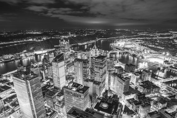 Pittsburgh Skyline Shot from the Roof of the U.S. Steel Tower (Black and White version)