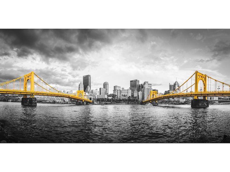 Pittsburgh Bridges Selective Color Photo  Pittsburgh Skyline image 0