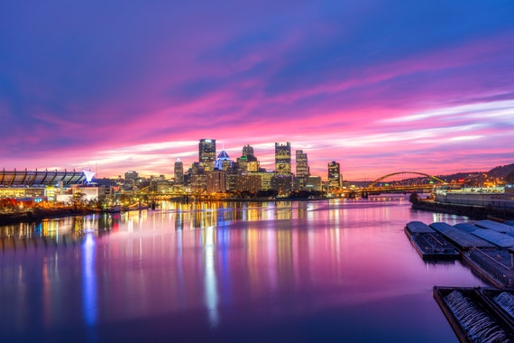 Pittsburgh Skyline with an Absolutely Incredible Sunrise