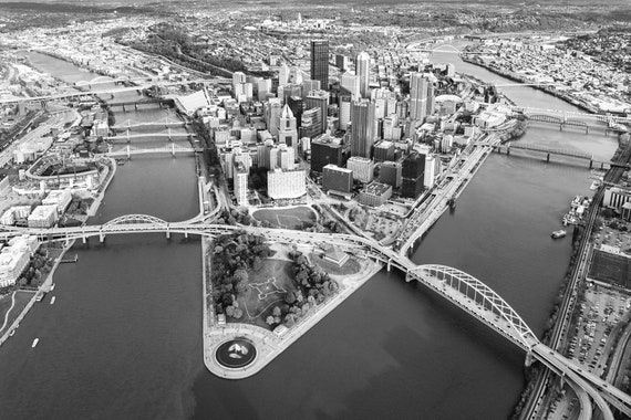 Aerial Photo of Pittsburgh (Black and White Version)