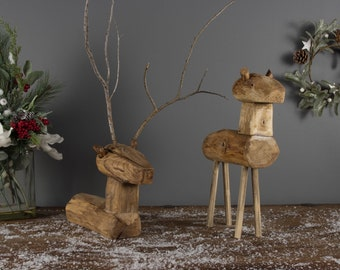 Christmas Reindeer Decoration - Wooden, Rustic, Ethical, Reclaimed