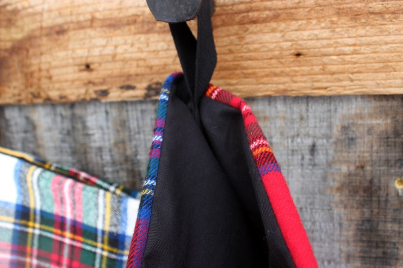 Christmas Stocking  Handmade Flannel Stockings  Tartan  Farmhouse  Plaid Stockings  Coordinated Stockings