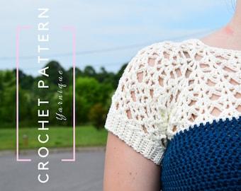 CROCHET PATTERN | Coralyn Raglan | Crochet Garment Pattern | Crochet Lace | Crochet Lacy Garment | Crochet Raglan Pattern | Yarnique