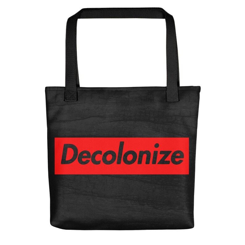 Choose Linen Black Wood Decolonize Tote Bag or White! Glitter