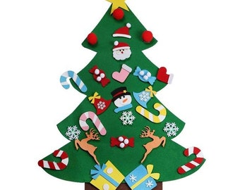 ourwarm new years products christmas gift for kids diy felt christmas tree with ornaments home decoration accessories
