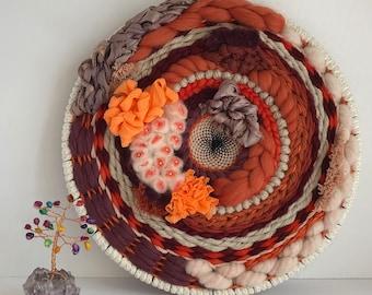 "MapleWood- Medium 10"" Round Weaving, Wall Hanging, Wall Art, Custom Wall Art, Birthday Gift, Home Dècor, Orange, Rust, Black"