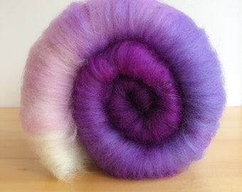 Purple Ombré- Art Batt, Spinning Fibers, Merino, Hand Carded for Spinning, Felting, Art Yarn, Yarn, Fiber Arts, Crafting
