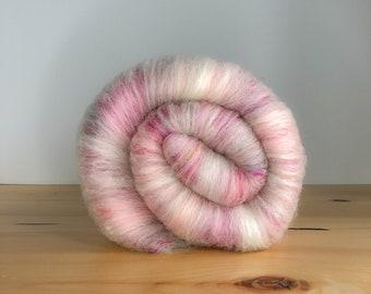 Cotton Candy- Art Batt, Spinning Fibers, Merino, Sari Silk, Pink, Hand Carded for Spinning, Felting, Art Yarn, Yarn, Fiber Arts, Crafting