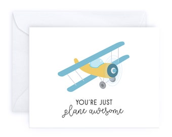 You're Just Plane Awesome   Punny Handmade Congratulations Friendship Greeting Card Birthday Airplane Romantic Love Funny Sarcastic