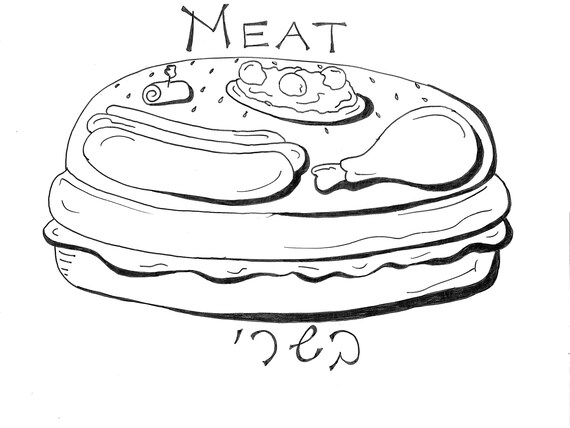 Meat Coloring Page Etsy