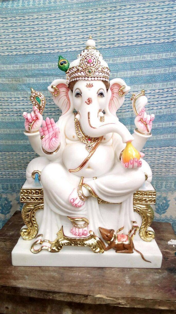 White Marble Ganesh Statue Etsy