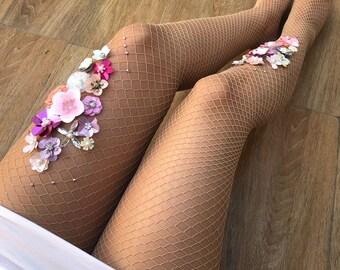 8010f7b8d7e61 La Vie En Rose Fishnet Stockings | Wedding Tights | Vintage Flower Pantyhose  | 3D flower tights