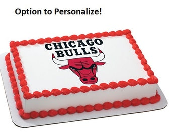 NBA Chicago Bulls Edible Cake Image Personalized Customize Topper Frosting Birthday Icing Cupcake Favors Decoration Fondant