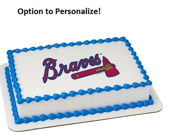 MLB Atlanta Braves Edible Cake Image Personalized Customize Topper Frosting Birthday Icing Cupcake Favors Decoration Fondant