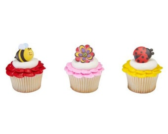 Party Favor Cake Topper 24 Dynamic Ladybug Bee Spring Flower Cupcake Rings