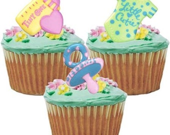 c417ff7c69 Baby Symbol Shower Gender Reveal Cupcake Cake Rings Party Favors Toppers  12