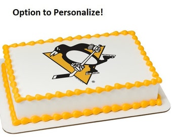 NHL Pittsburgh Penguins Hockey Edible Cake Image Personalized Customize Topper Frosting Birthday Icing Cupcake Favors Decoration Fondant