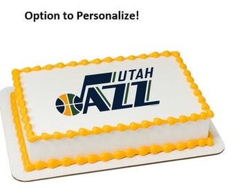 NBA Utah Jazz Edible Cake Image Personalized Customize Topper Frosting Birthday Icing Cupcake Favors Decoration Fondant