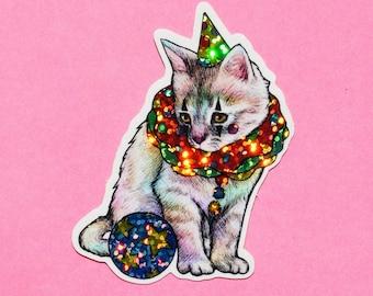 Sparkly Clown Kitten Sticker