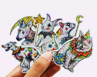 Sparkly Clown Animal Sticker Pack #1