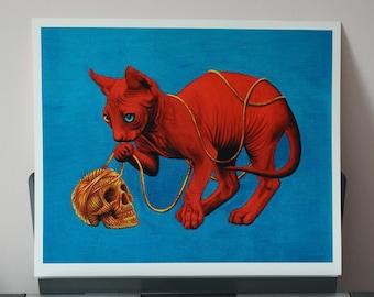 Skull & Sphynx Cat Giclee Fine Art Print - 53x42cm