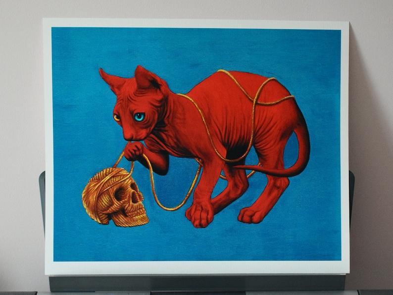 Skull & Sphynx Cat Giclee Fine Art Print  53x42cm image 1