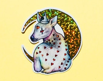 Sparkly Clown Deer Sticker - Pierrot fawn with hearts & moon