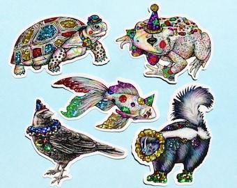 Sparkly Clown Animal Sticker Pack #2