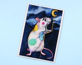 Clown Rat A5 Giclee Art Print