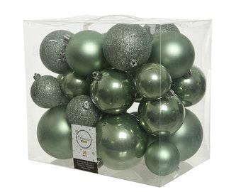 Christmas balls plastic mix 6-10 cm sage green, set of 26
